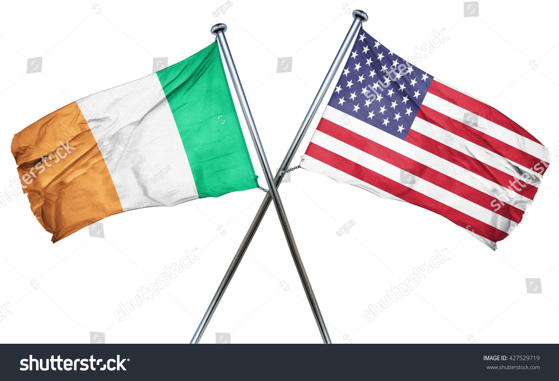 ireland flag american flag isolated on stock illustration
