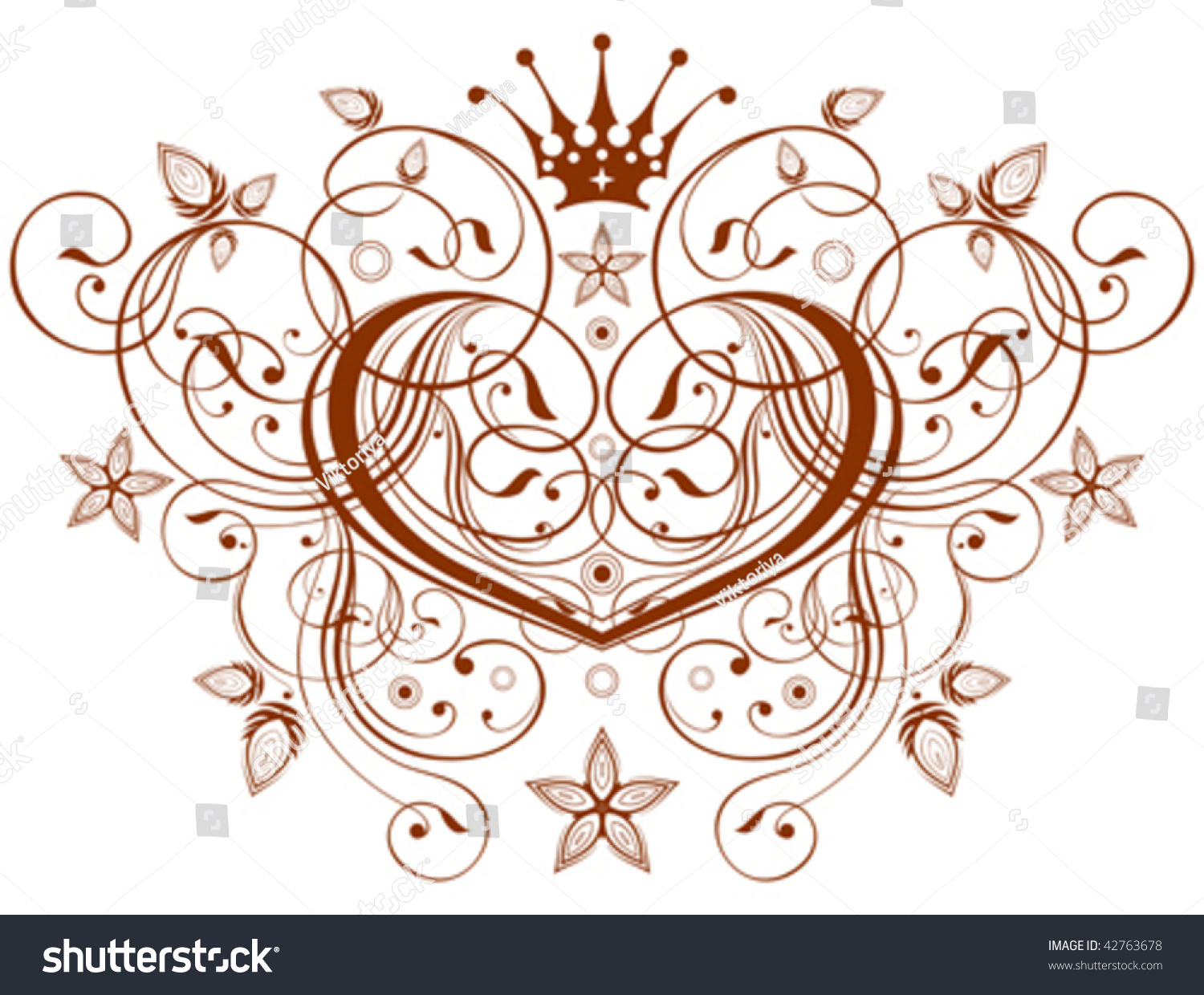 Vector emblem calligraphy heart flowers ornament stock