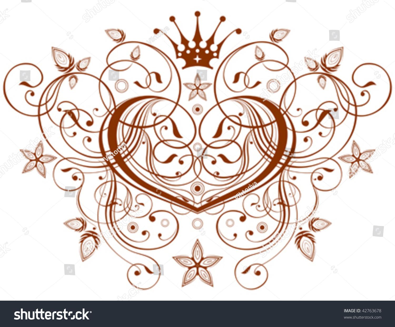 Vector Emblem Calligraphy Heart Flowers Ornament