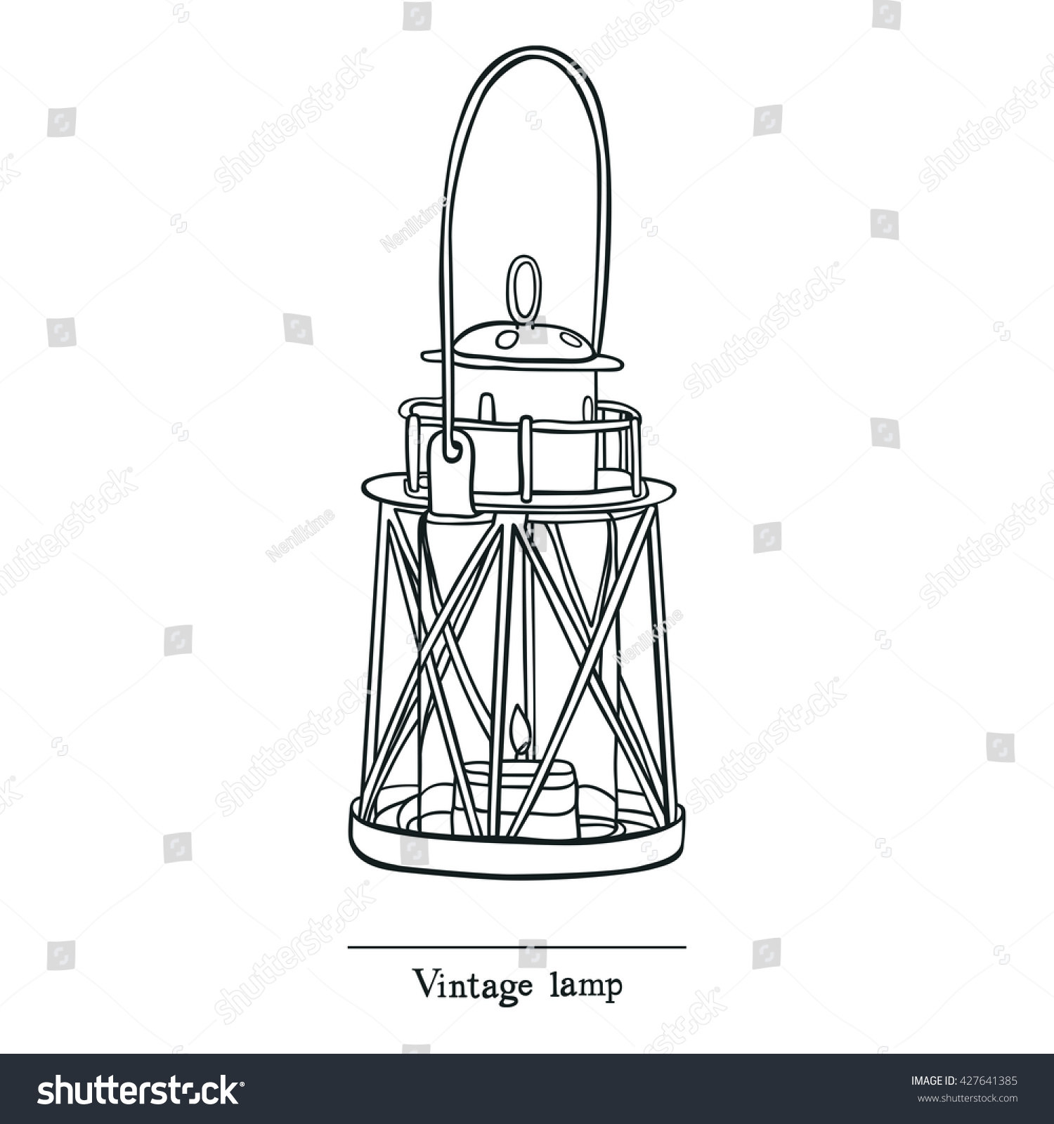 Vintage Candle Lamp Line Sketch Style Stock Vector 427641385 ... for candle lamp drawing  83fiz