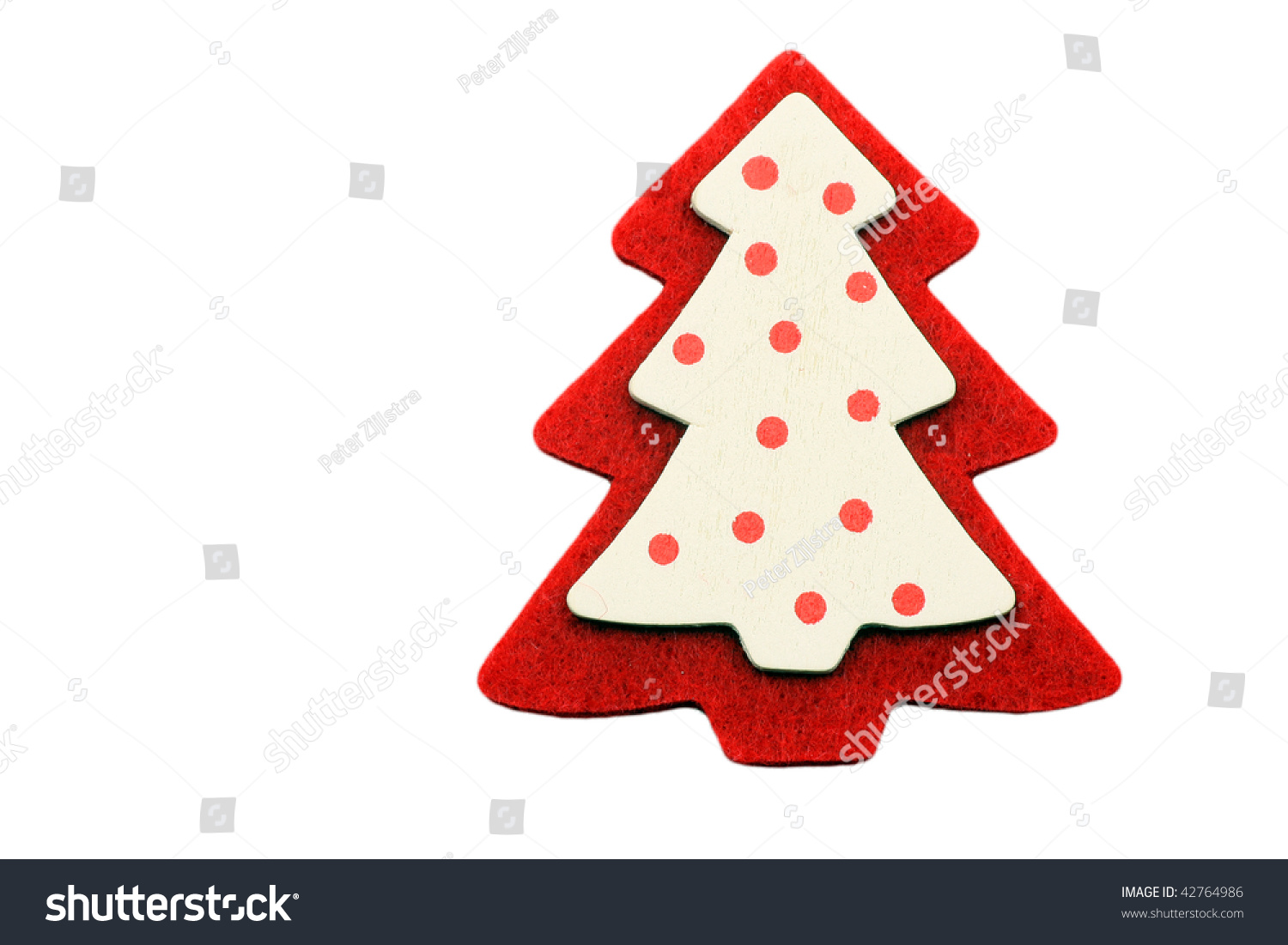 Red And White Christmas Tree Decoration On A White ...  Red Christmas Tree White Background