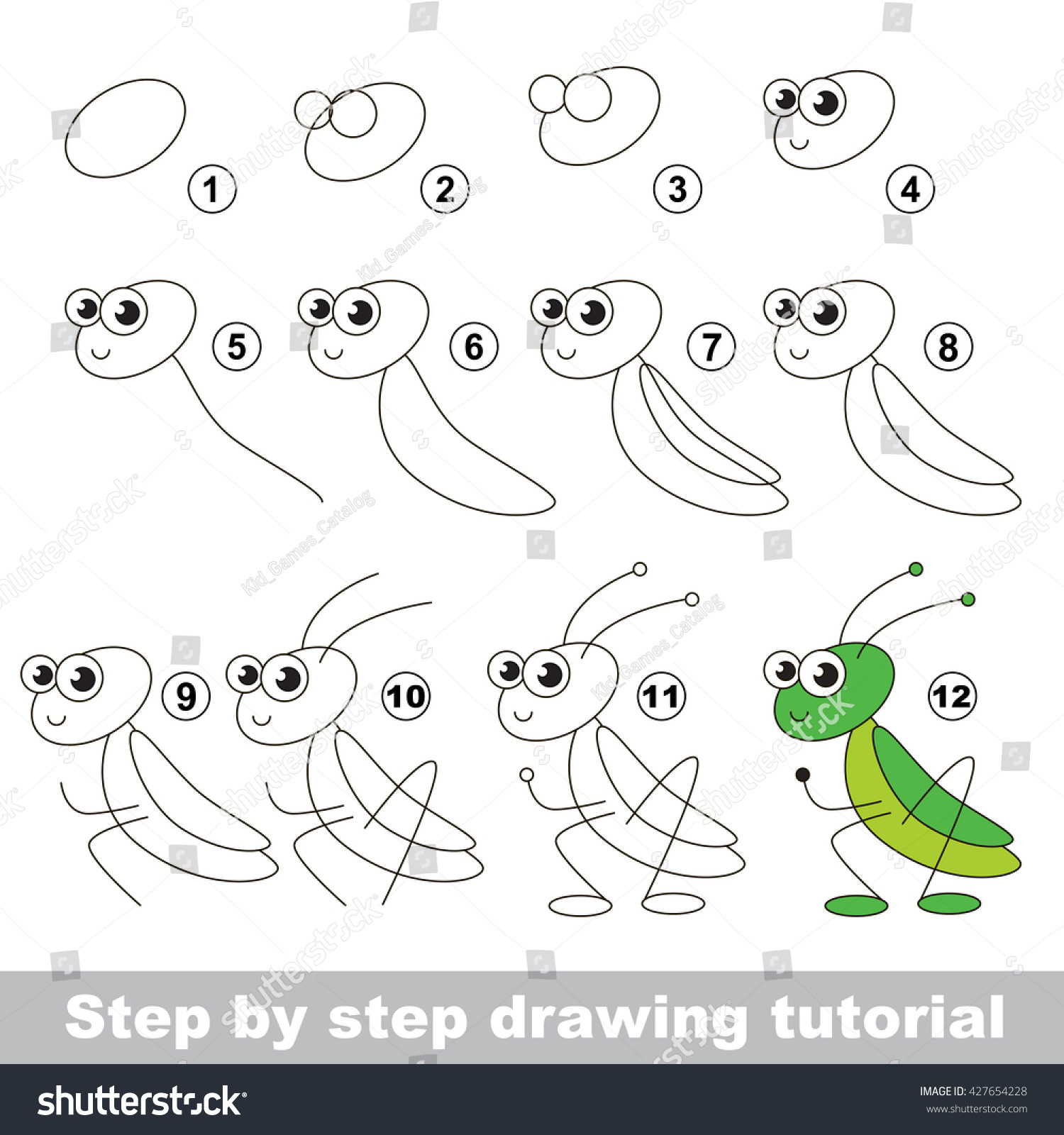drawing tutorial children easy educational kid stock vector