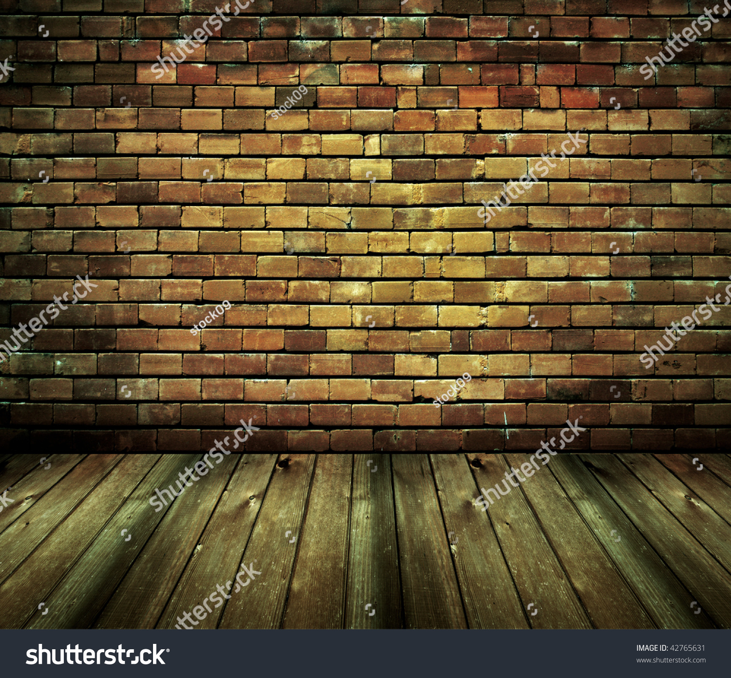 Vintage Brick Wall And Wood Floor Texture Interior Stock Photo ...