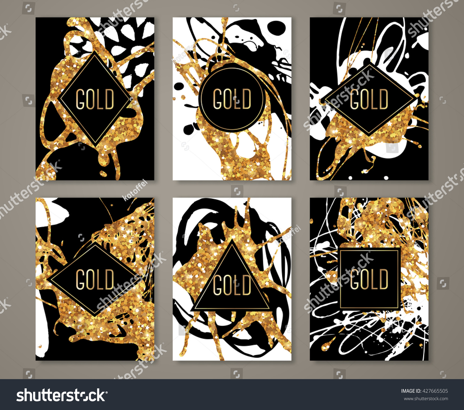 Black Gold Banners Set Greeting Card Stock Vector Hd Royalty Free