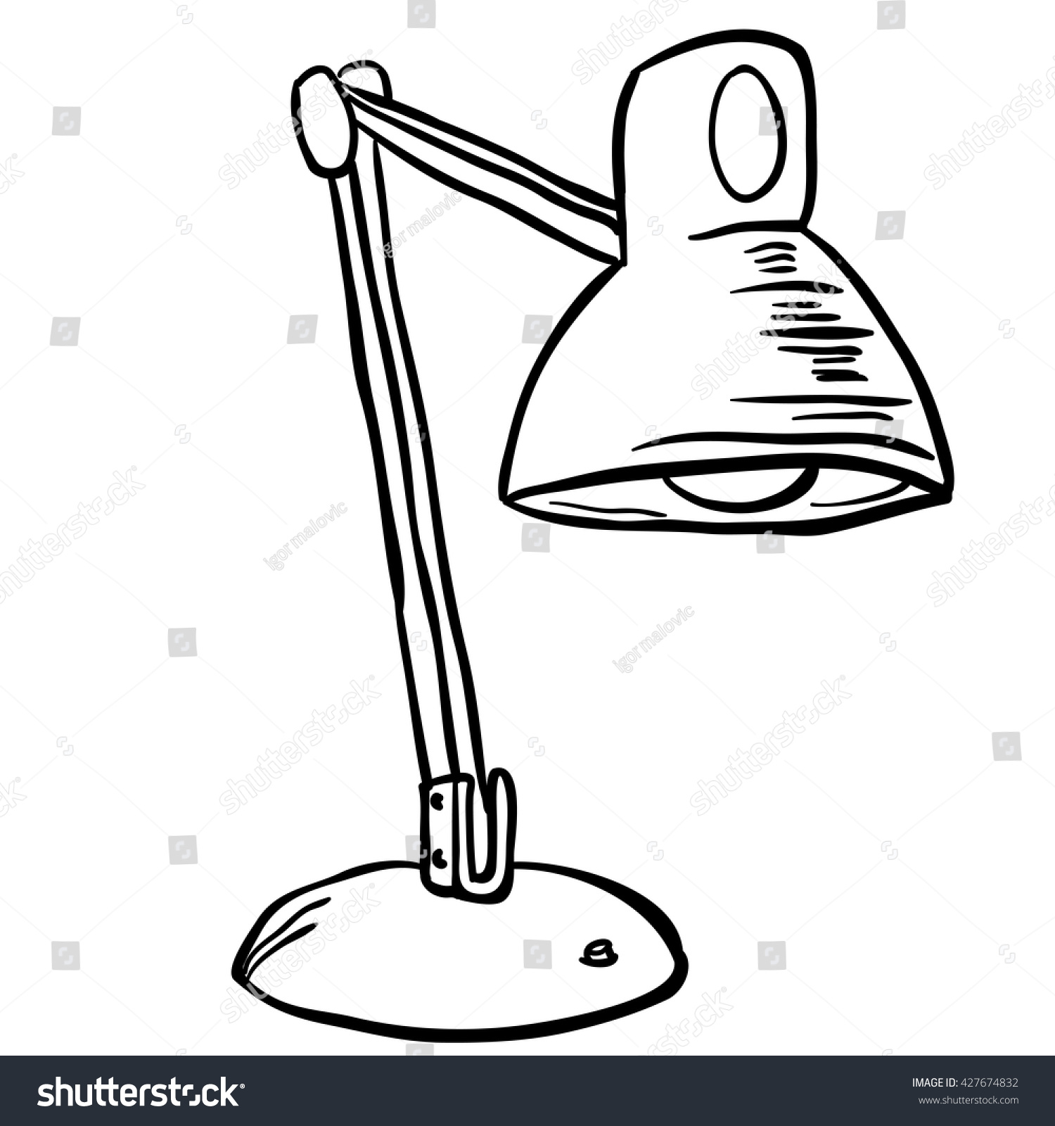 Black White Lamp Cartoon Stock Vector 427674832 - Shutterstock for Clipart Lamp Black And White  14lpgtk
