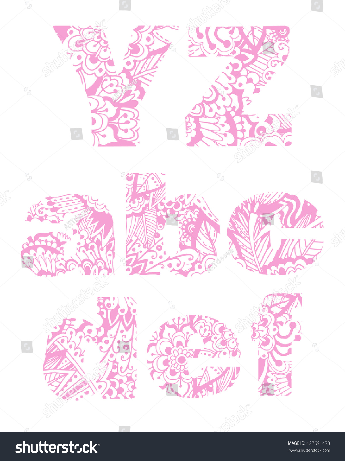 Set Letters Y Z A B Stock Vector (Royalty Free) 427691473 ...
