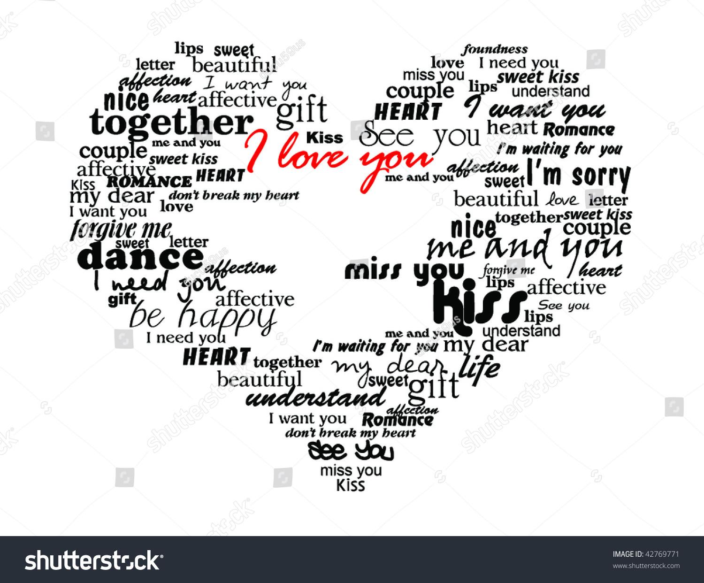 Heart Made Love Words Valentine Vector Stock Vector