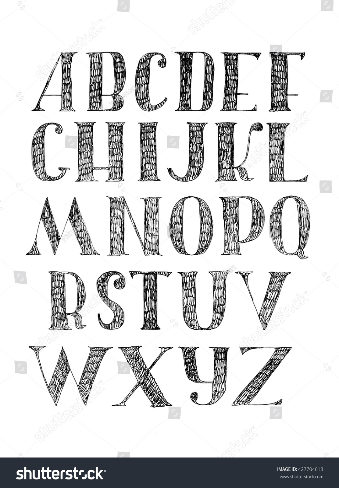 English Hand Drawn Font From A To Z Calligraphy Made With Nib And Serif