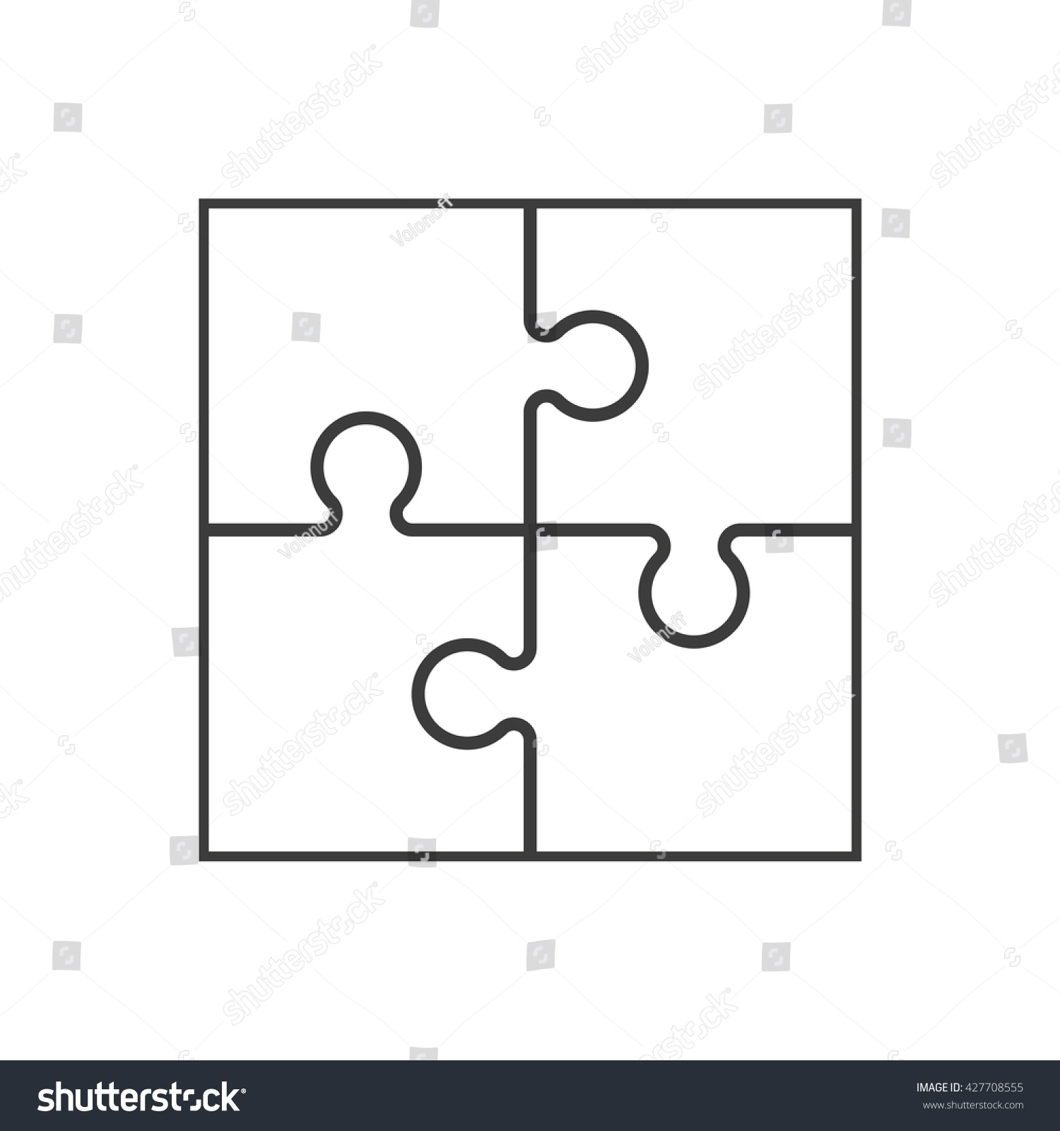 Four Piece Flat Puzzle Round Infographic Stock Illustration ...
