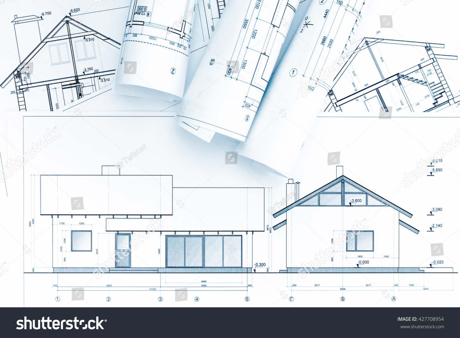 Home Construction Plans Architectural Blueprint Rolls Stock Photo ...