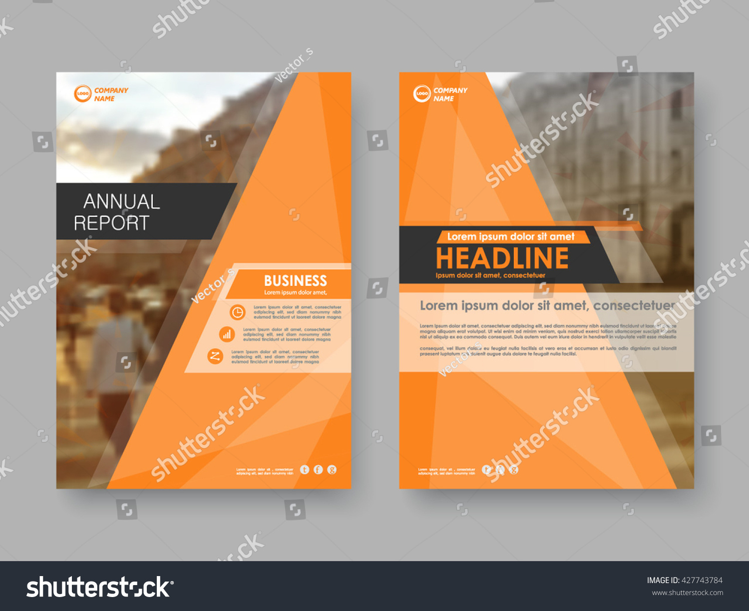 Annual report flyer presentation brochure Front page report book cover layout design Design layout template in A4 size Abstract orange cover templates