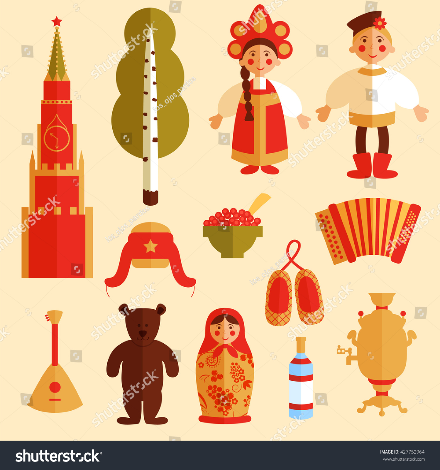 vector set russian icons traditional cultural stock vector vector set of russian icons traditional cultural symbols