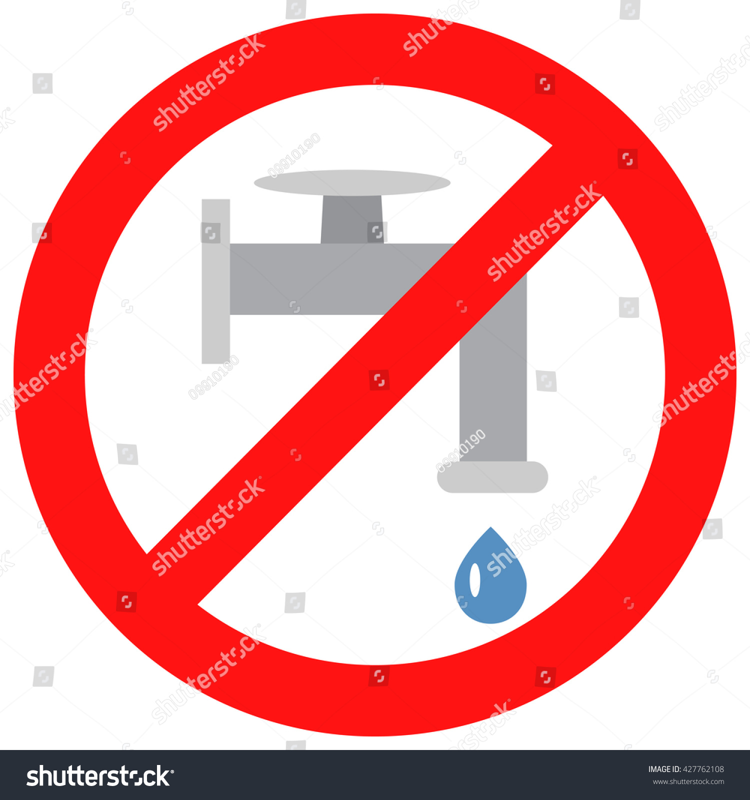 Sign Close Valve Water Water Pipe Stock Vector Royalty Free