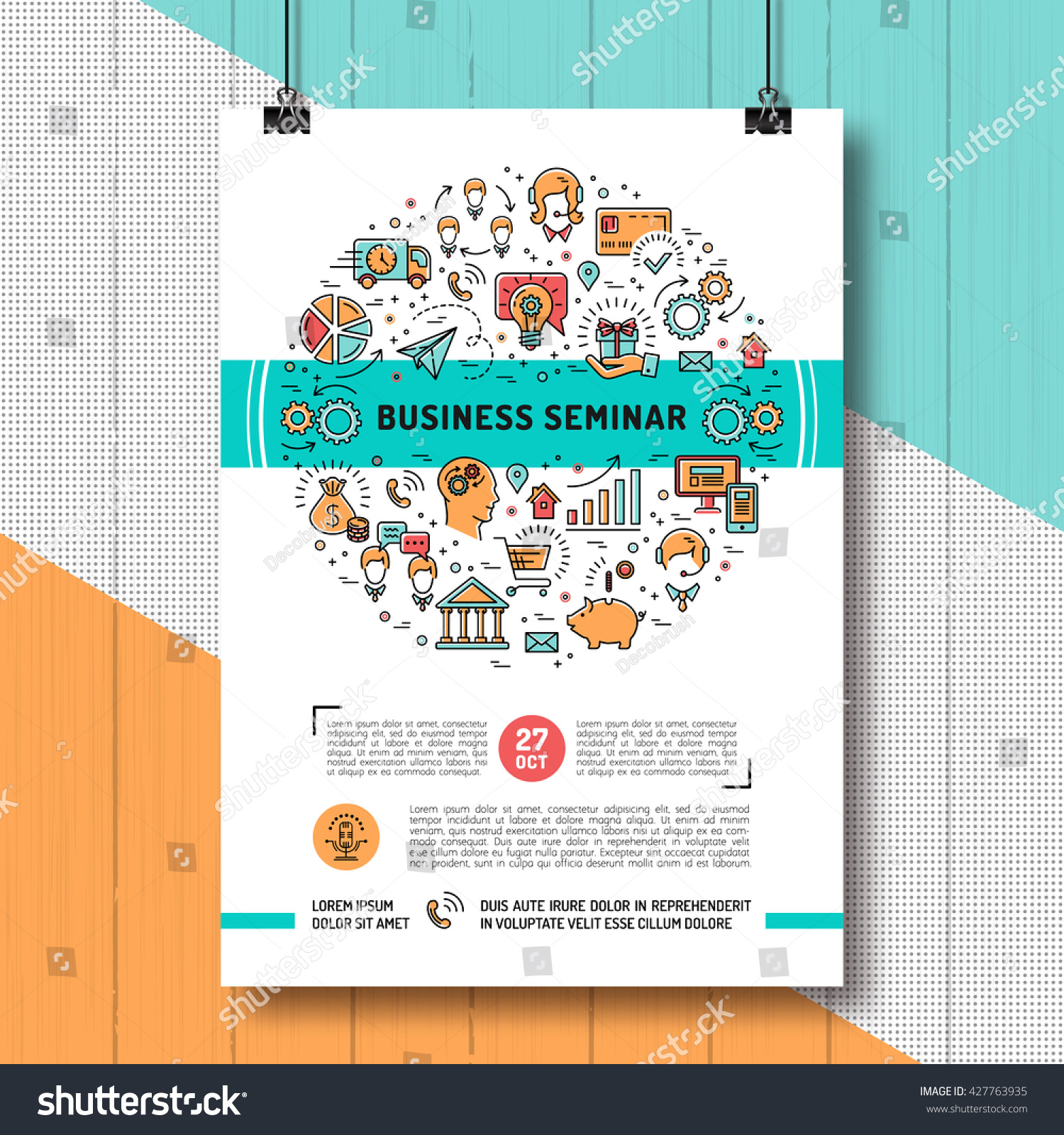 Vector Business Seminar Poster Templates A 4 Stock Vector Royalty