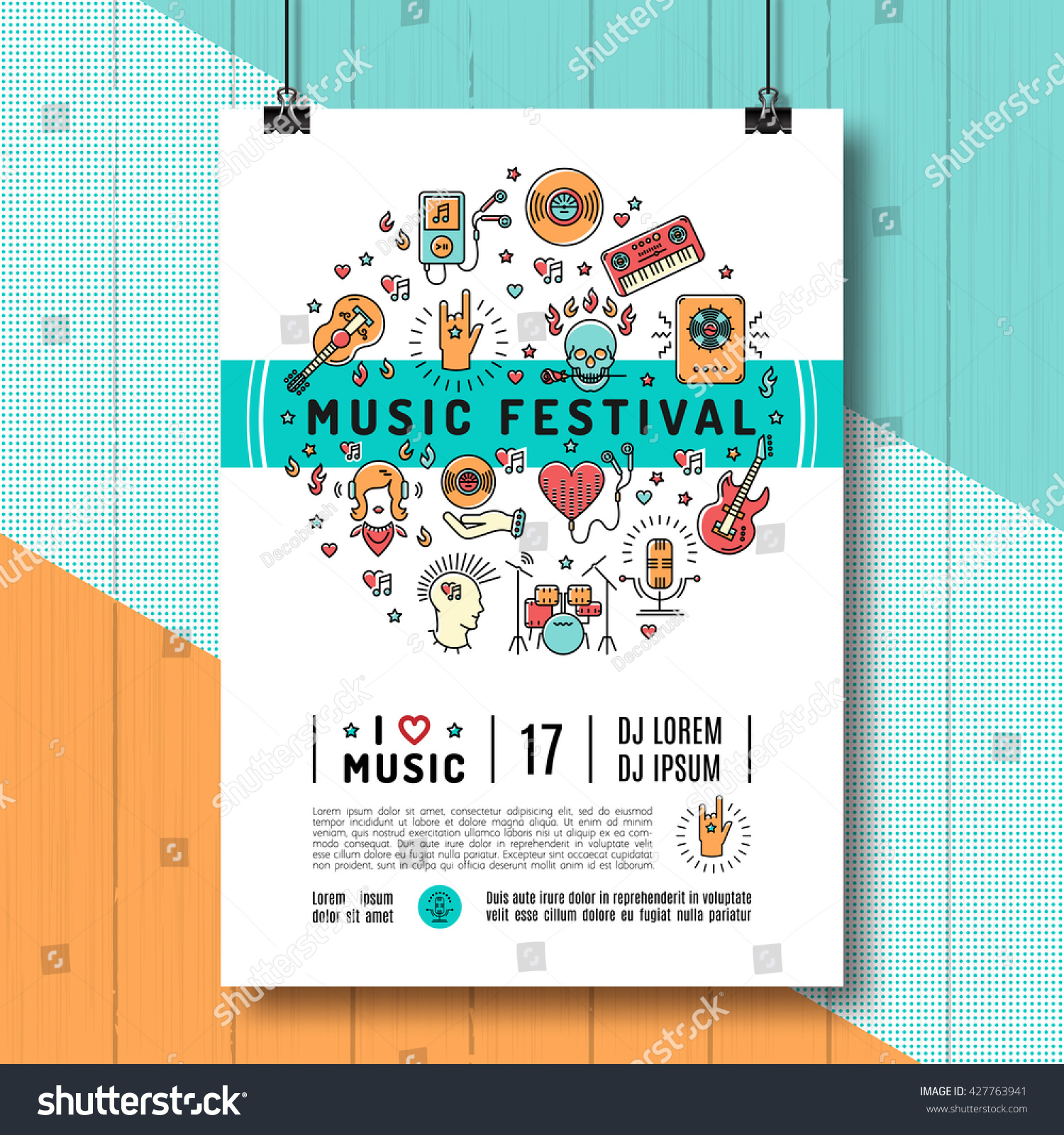 Poster design size - Music Festival Poster Template A4 Size Music Infographics Trendy Icons Line Art Style