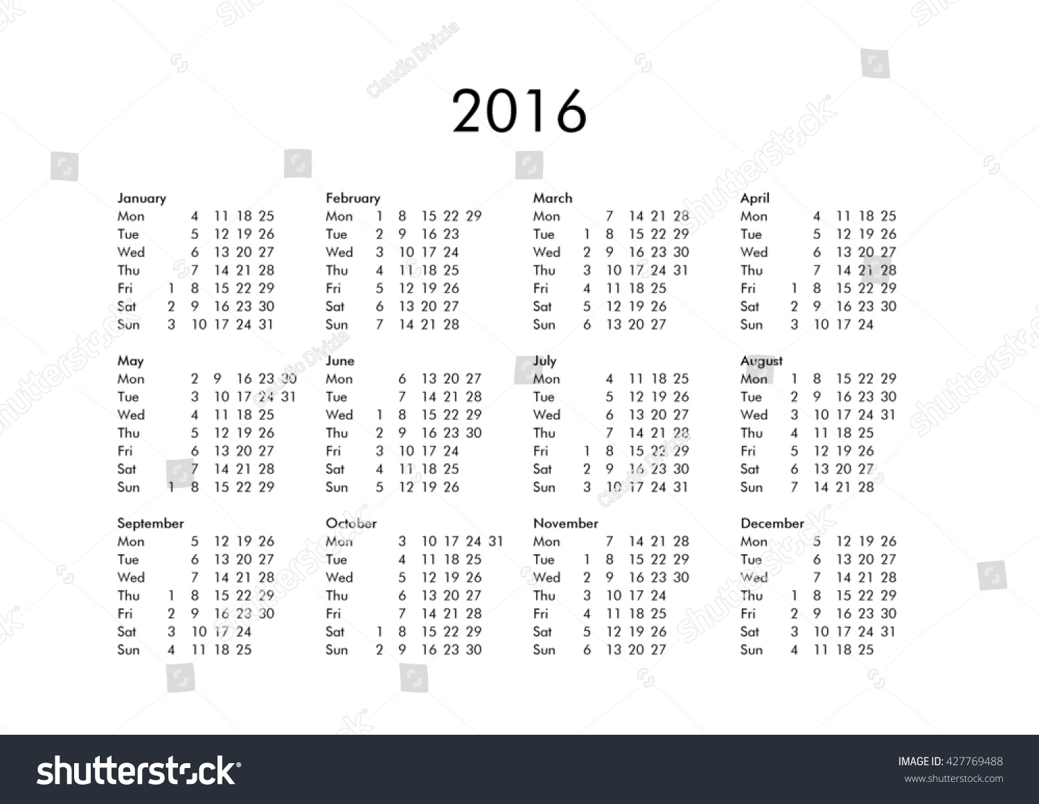 Calendar All Months : Calendar year all months stock illustration