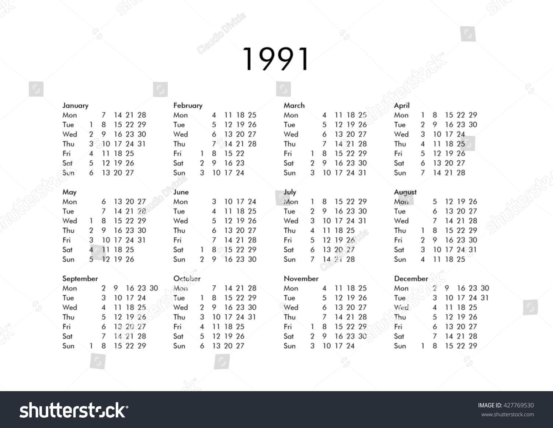 Vintage Calendar Year 1991 All Months Stock Illustration Royalty