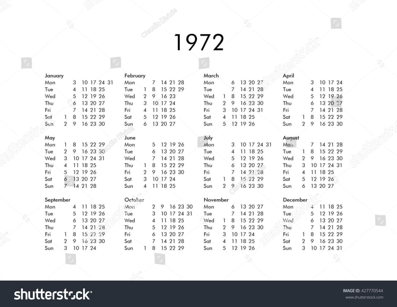 Vintage Calendar Year 1972 All Months Stock Illustration 427770544