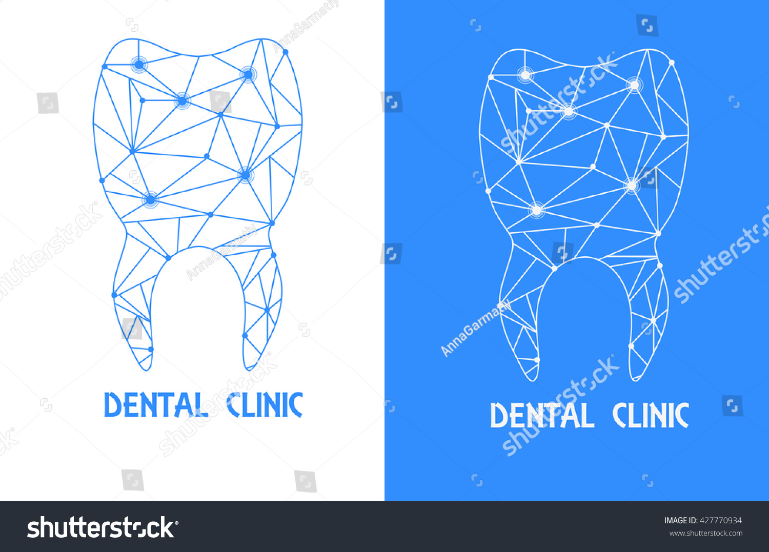 Tooth Polygon Outline Logo Stylized Tooth Stock Vector Royalty Free