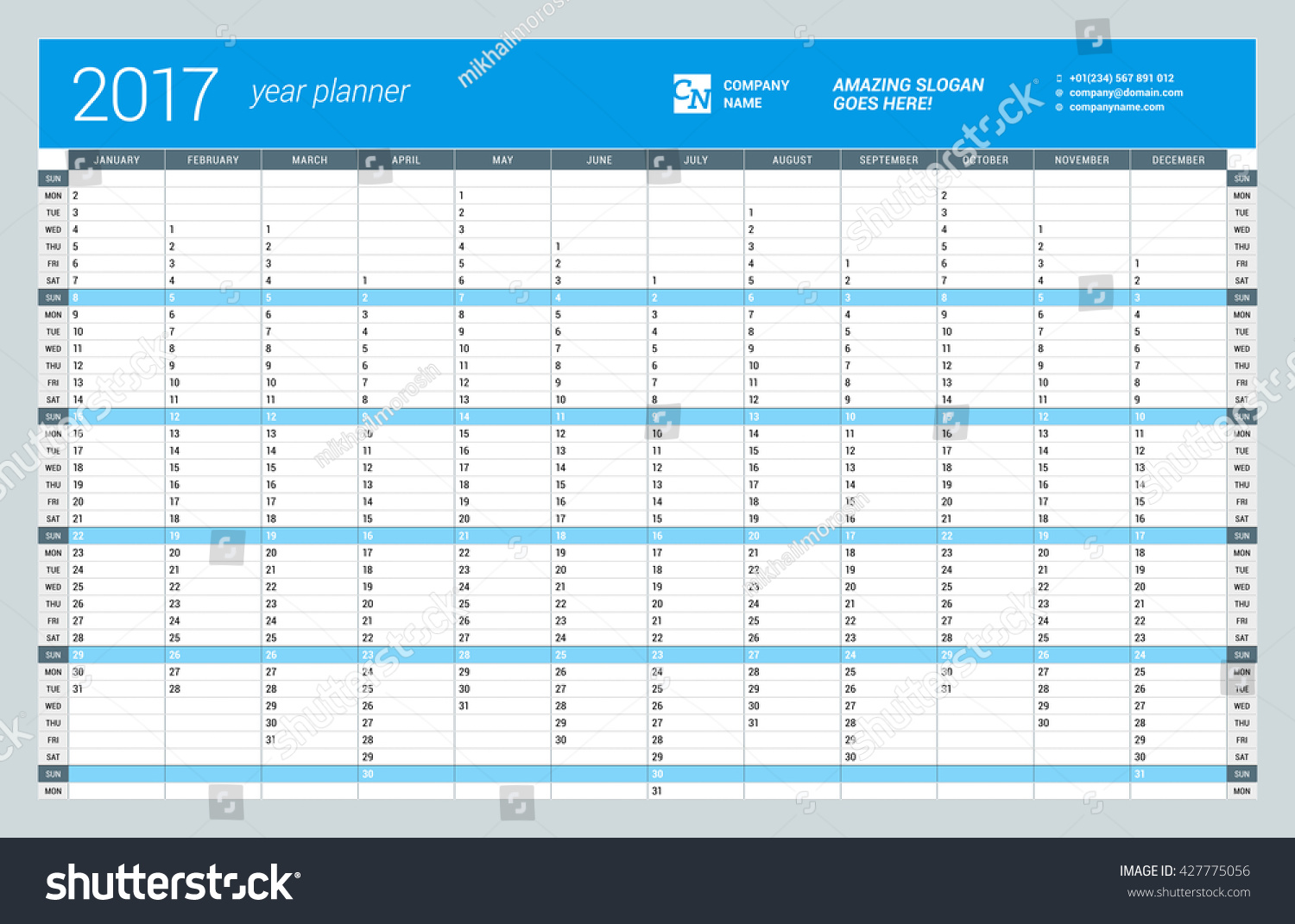 yearly wall calendar planner template for 2017 year vector design print template week starts