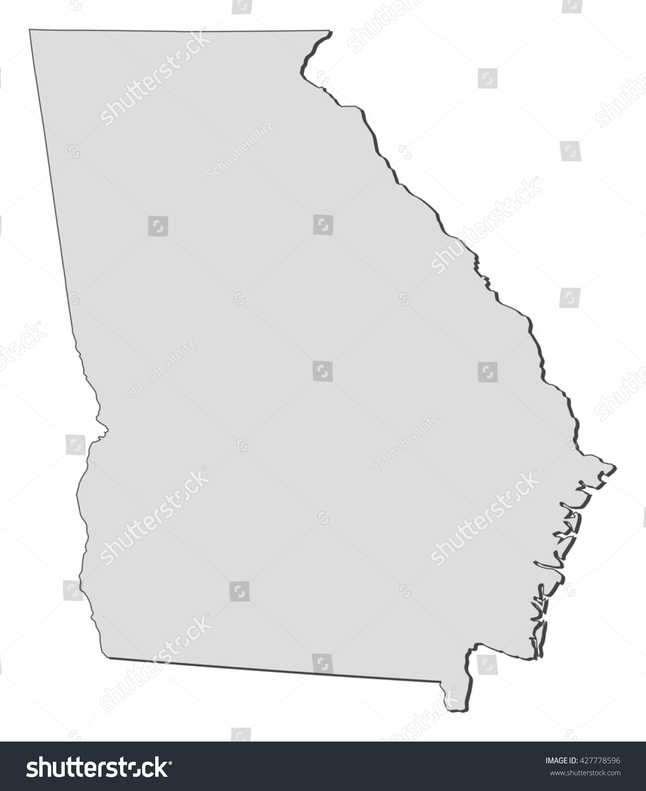 Map Georgia United States Stock Vector Shutterstock - Map of georgia united states