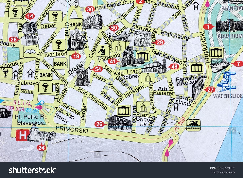 Varna Bulgaria May Downtown Stock Photo - Varna map