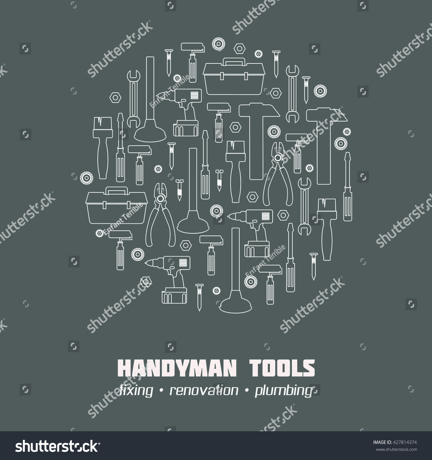 Handyman Business Identity Template Banner Icons Stock Vector