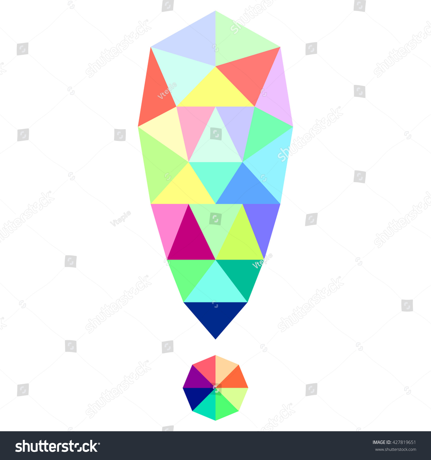 The exclamation point symbol attention of geometric shapes colorful triangles vector illustration