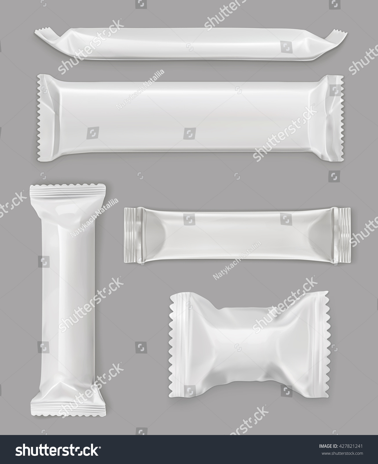 White polyethylene package chocolate bar vector stock for Food bar mockup