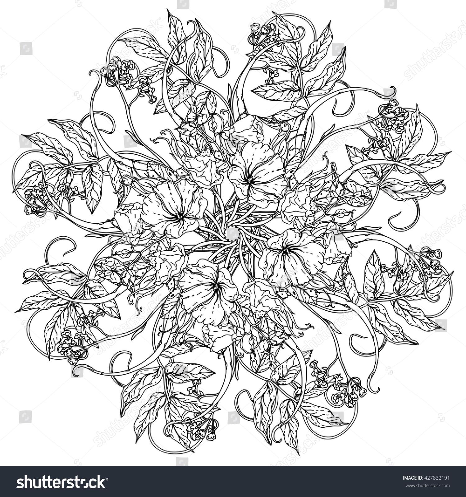 Flowers Shape Mandala Old Masters Style Stock Vector 427832191 ...