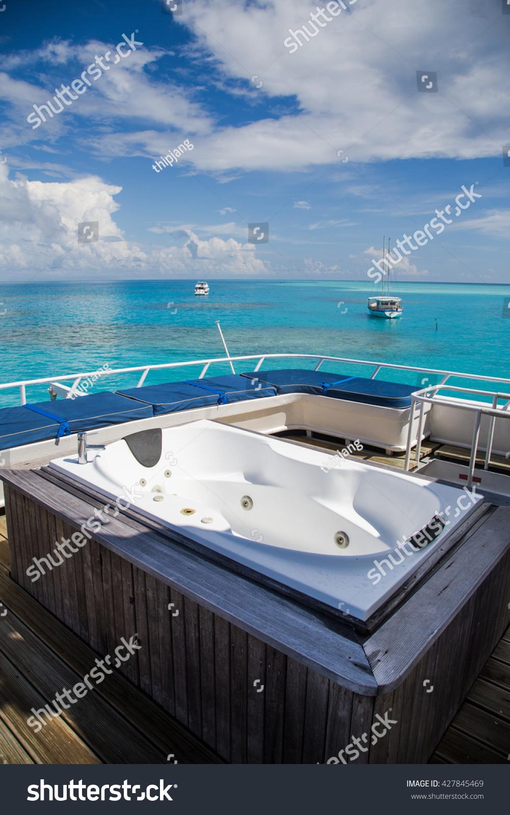 Jacuzzi Bath On Cruise Ship Blue Stock Photo (Royalty Free ...