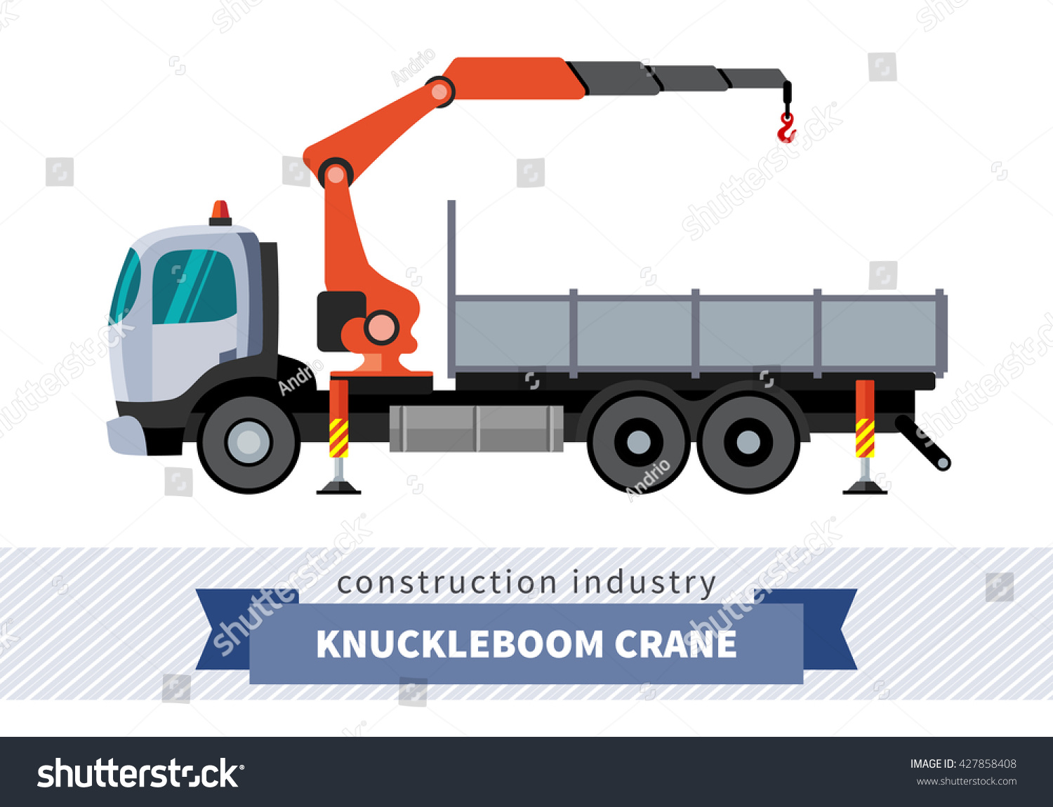 Knuckleboom crane truck Side view mobile crane isolated vector illustration