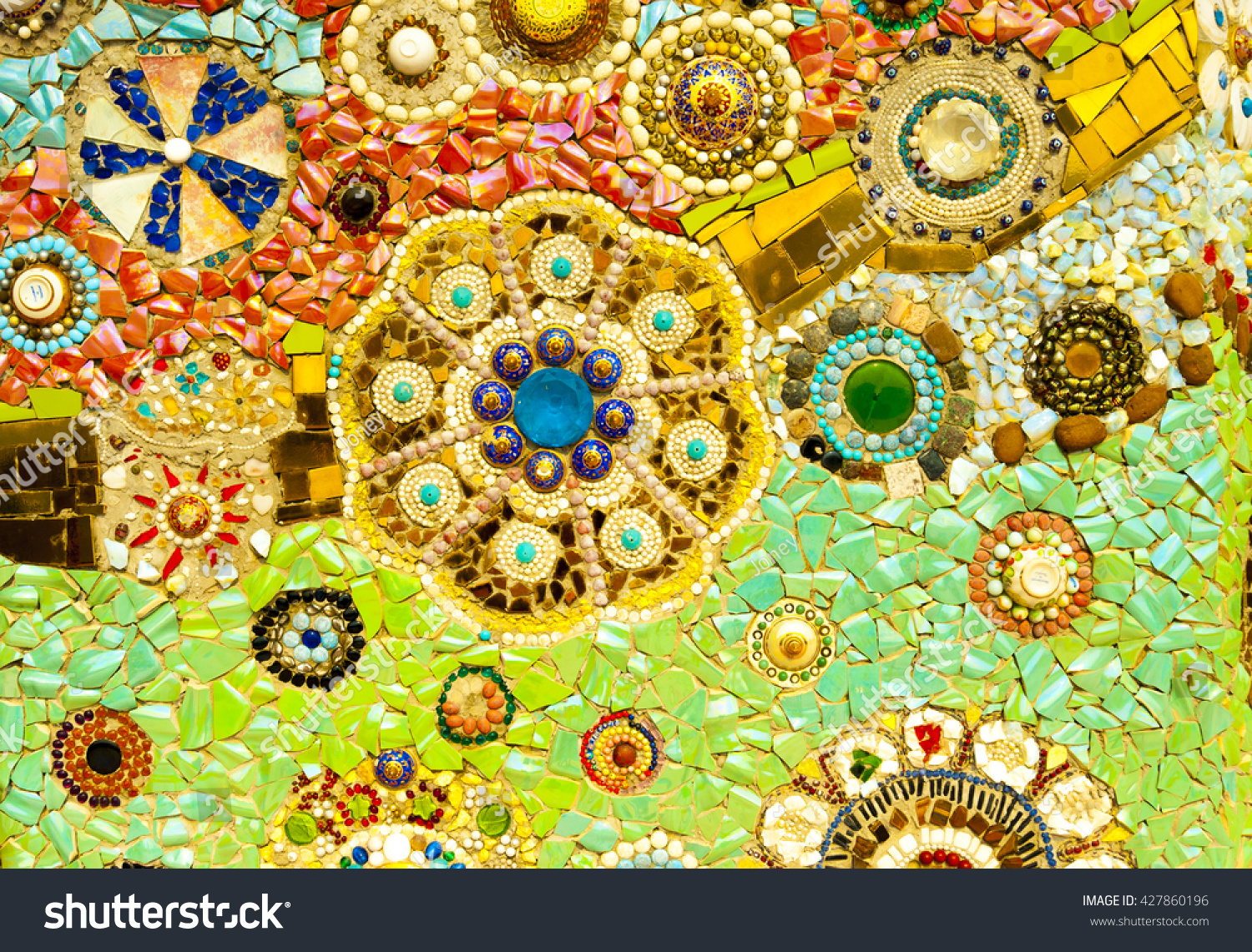Art Mosaic Glass On Wall Seamless Stock Photo (Royalty Free ...