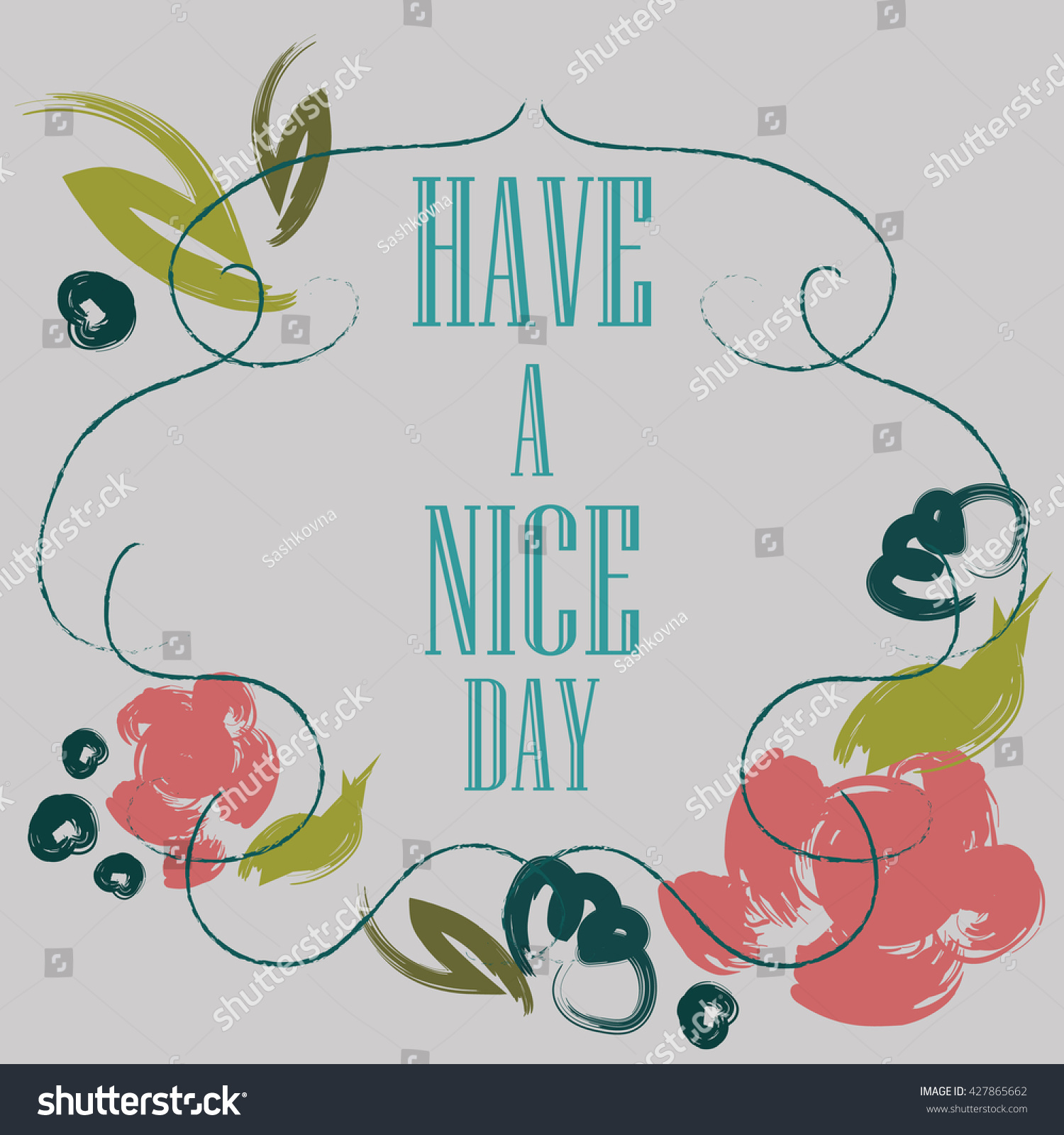 Have Nice Day Inscription Greeting Card Stock Vector (Royalty Free ...