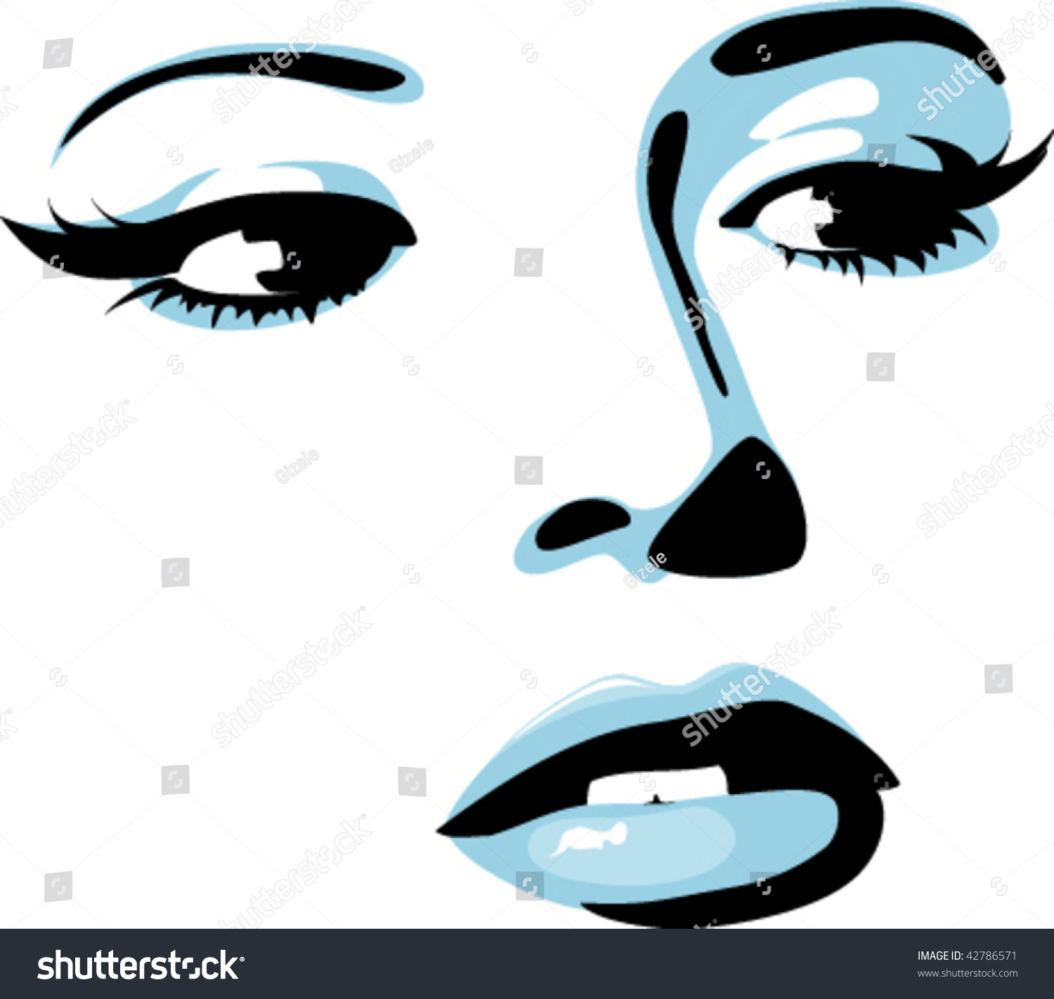 Fashion Girl Face Abstract Beautiful Female Stock Vector