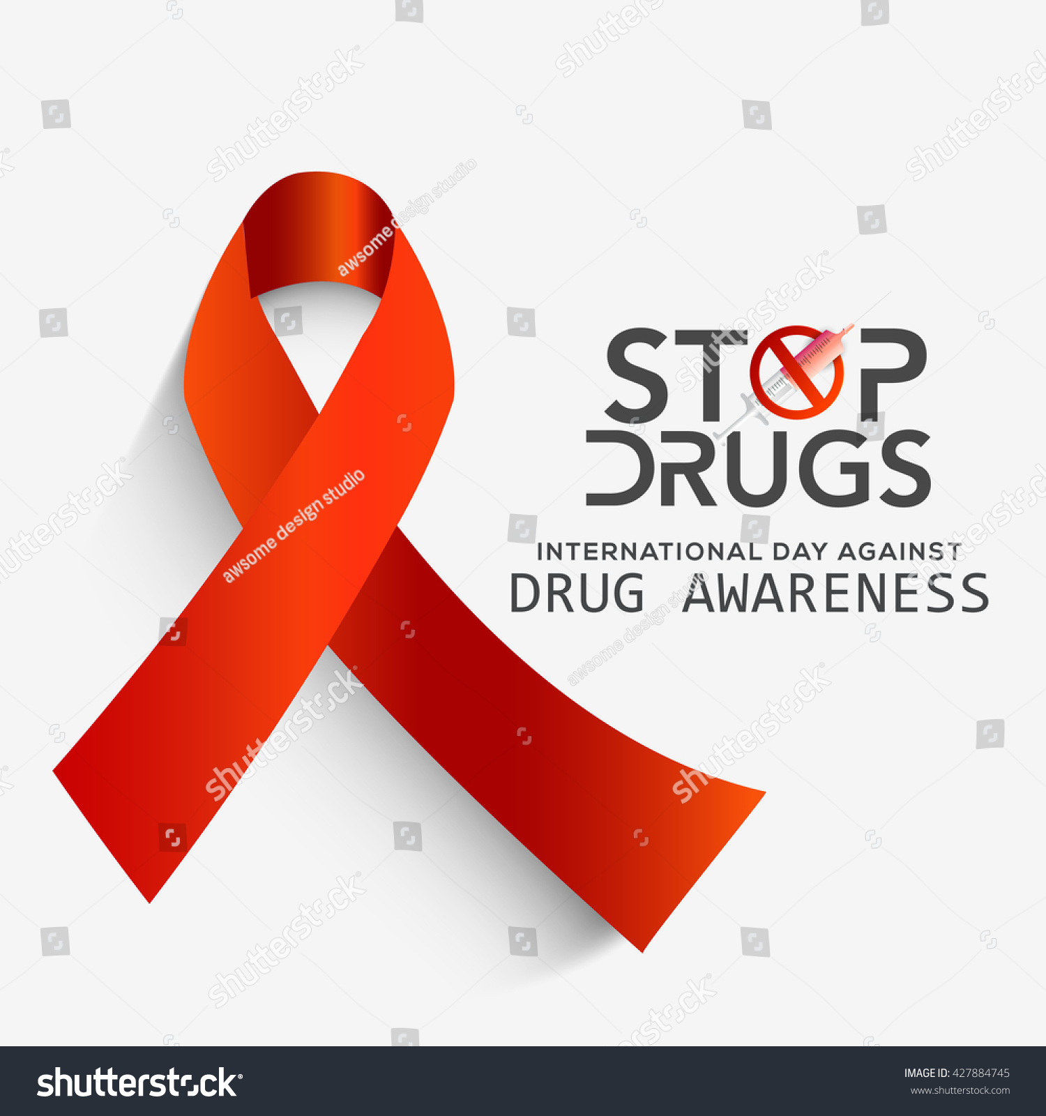 ... banner for International Day against Drug Abuse with awareness ribbon