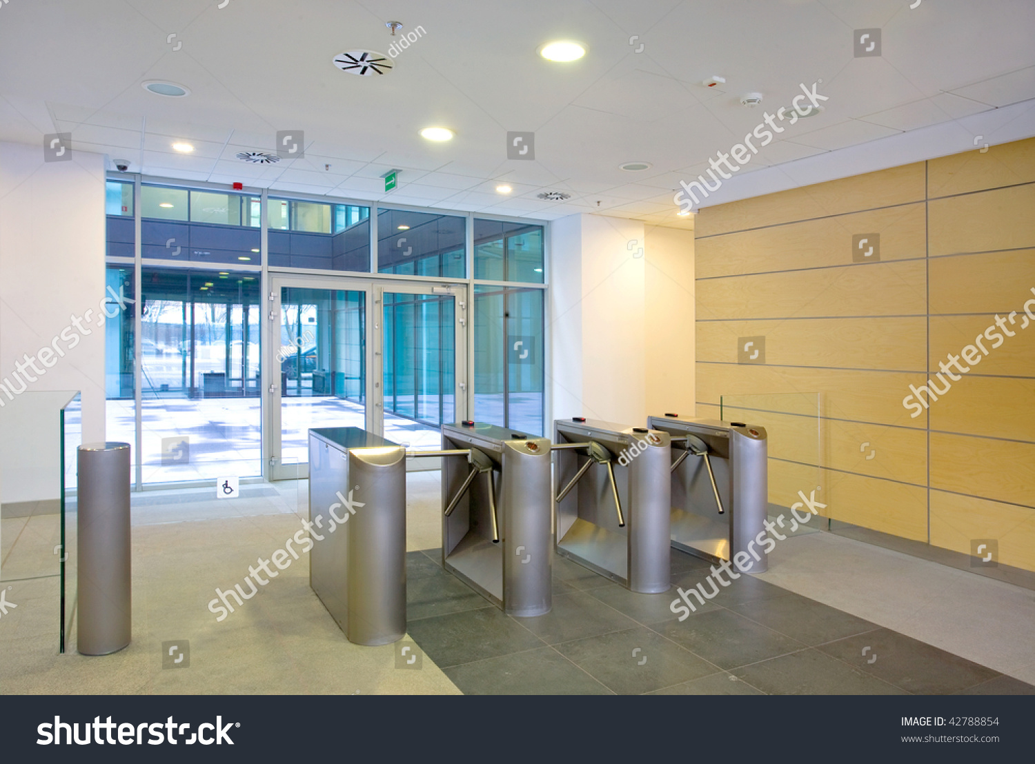 Lobby Entrance Turnstile Business Center Building Stock