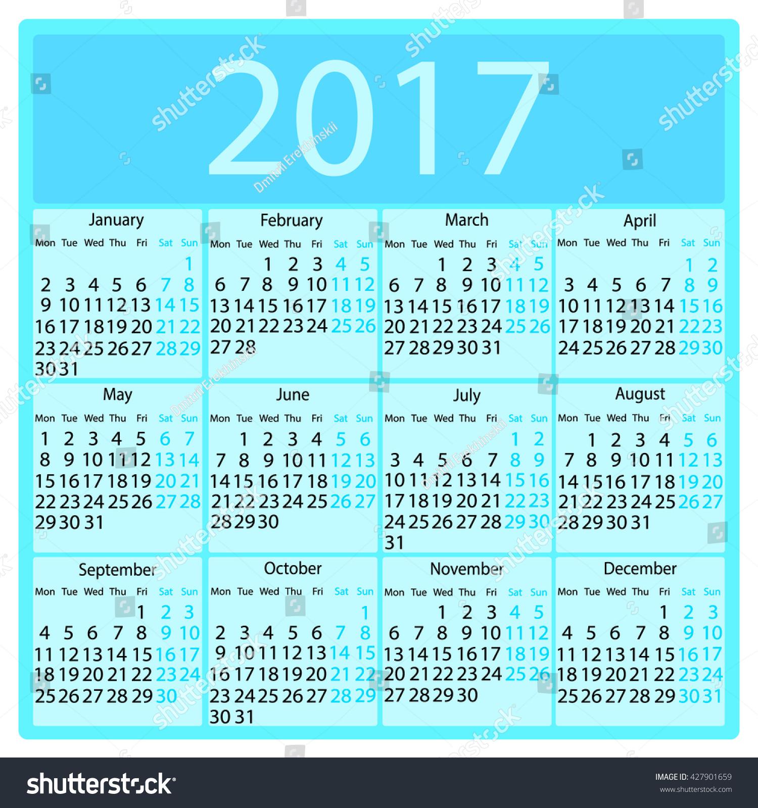Calendar 2017 Black Blue Colors Holiday Stock Vector 427901659 ...