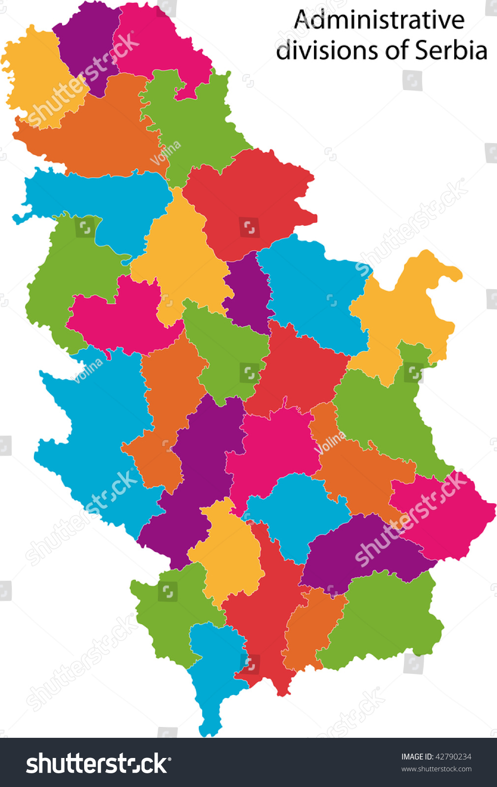Map Administrative Divisions Republic Serbia Stock Illustration