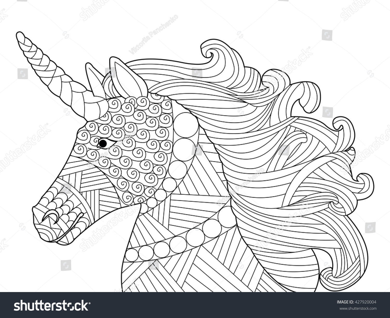 Abstract Unicorn Coloring Pages : Head unicorn coloring book adults vector stock