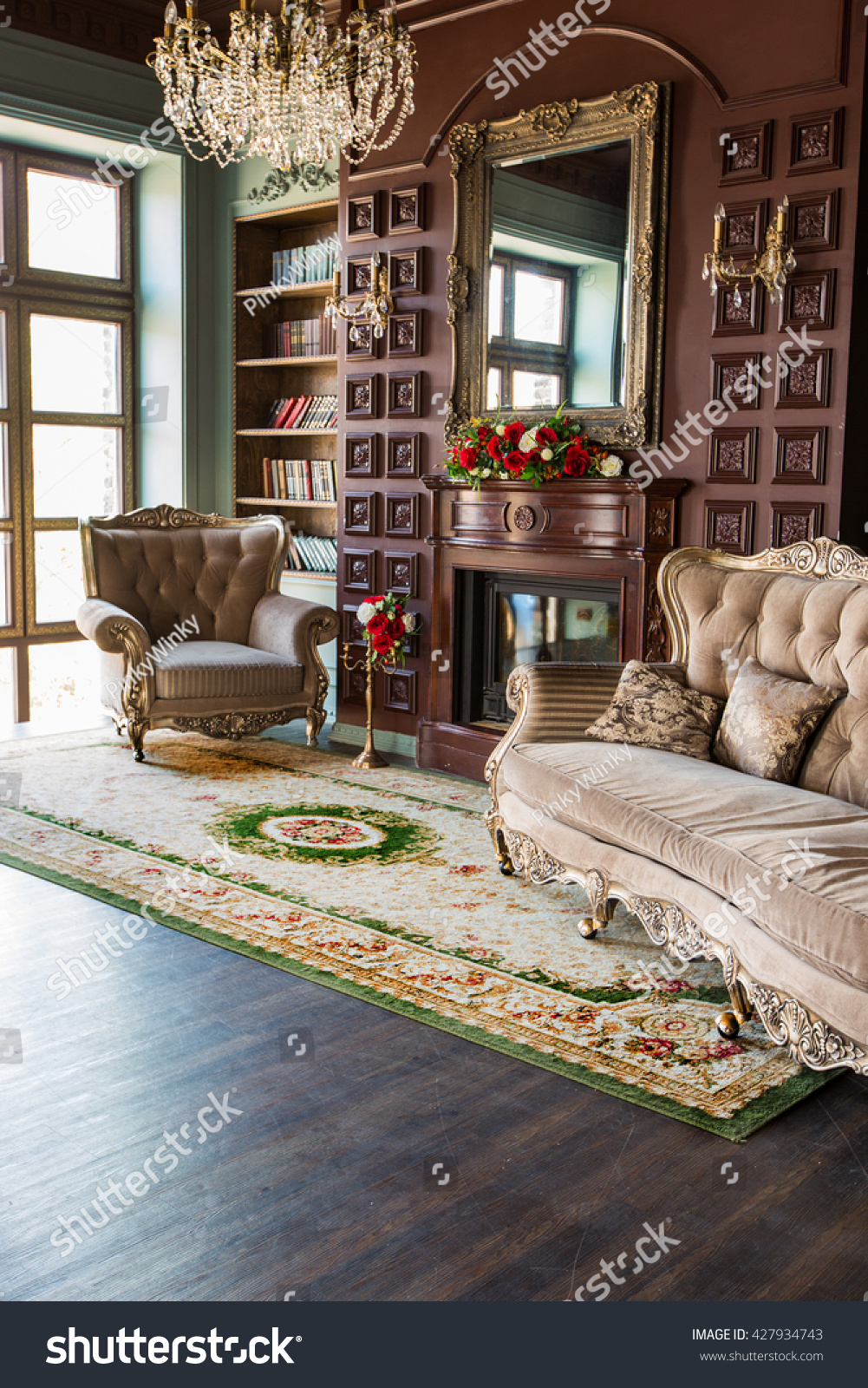 Home Library Furniture: Luxury Interior Home Library Sitting Room Stock Photo