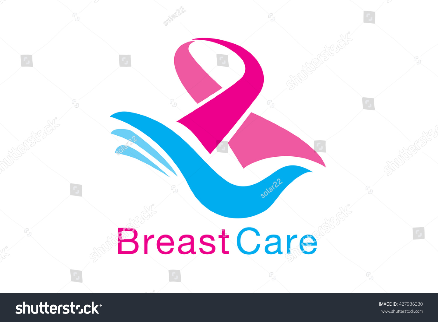 Breast care symbol meaning breast cancer stock vector 427936330 breast care symbol meaning to breast cancer awareness pink ribbon on blue hand stop biocorpaavc
