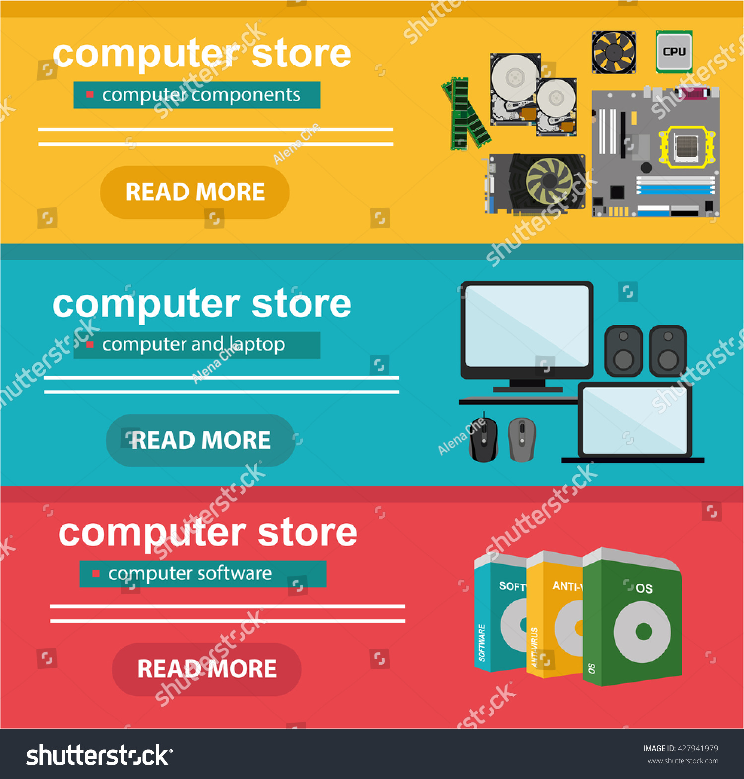 Flat design concept computer store sale stock vector for Retail store layout software