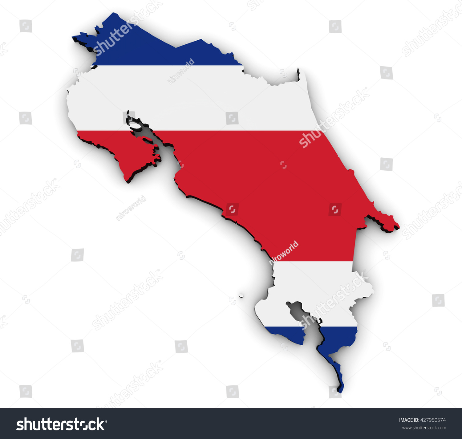 Costa rica shape map costa rican stock illustration 427950574 costa rica shape and map with costa rican flag symbol 3d illustration isolated on white background biocorpaavc Gallery