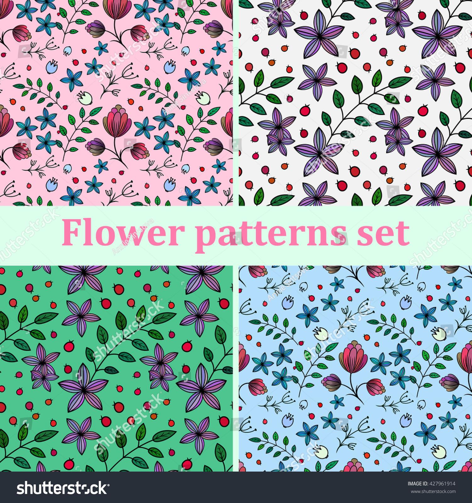 Set seamless backgrounds pretty flowers stock vector 427961914 set of seamless backgrounds with pretty flowers mightylinksfo