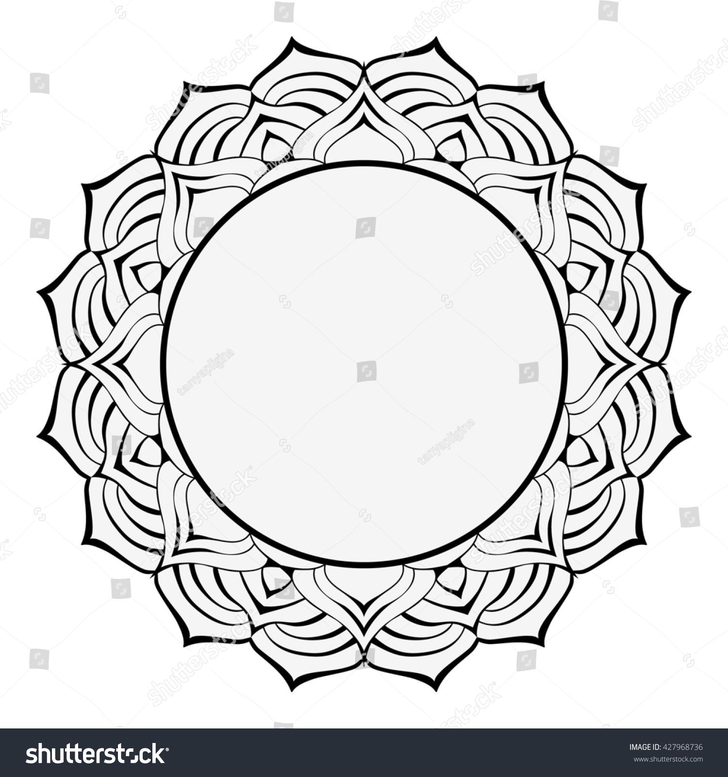 mandala round black white frame decorative stock illustration
