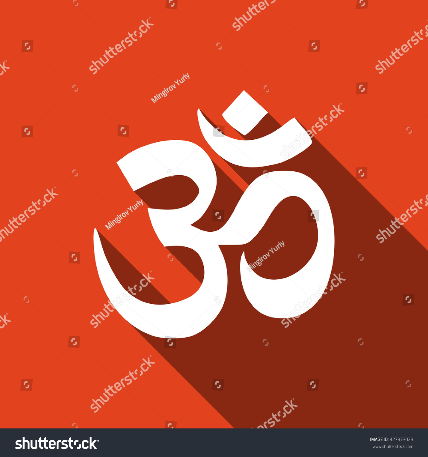 Sign om symbol buddhism hinduism religions stock vector 427973023 sign om symbol of buddhism and hinduism religions flat icon with long shadow vector buycottarizona