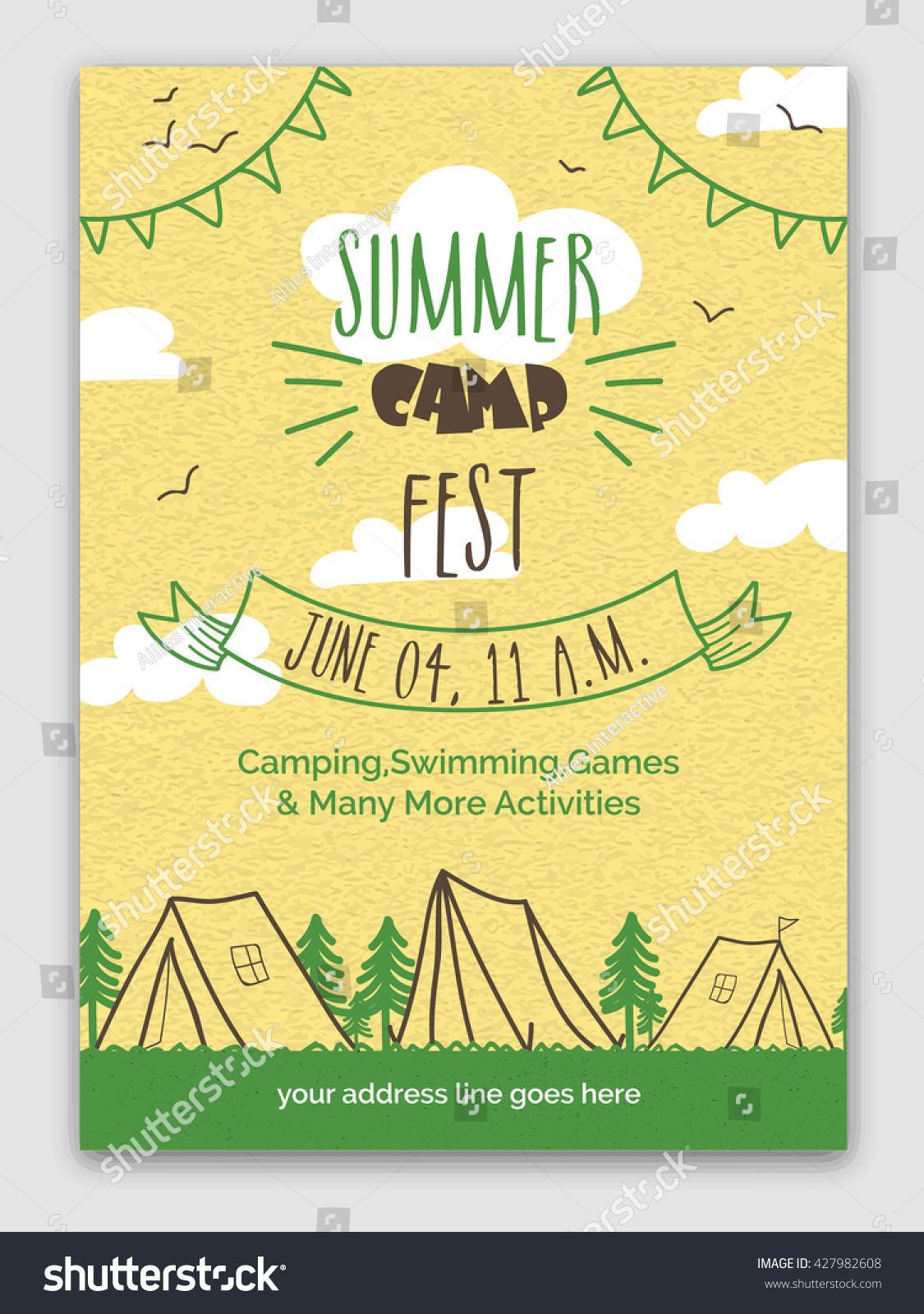 summer camp fest template banner flyer stock vector 427982608 shutterstock. Black Bedroom Furniture Sets. Home Design Ideas