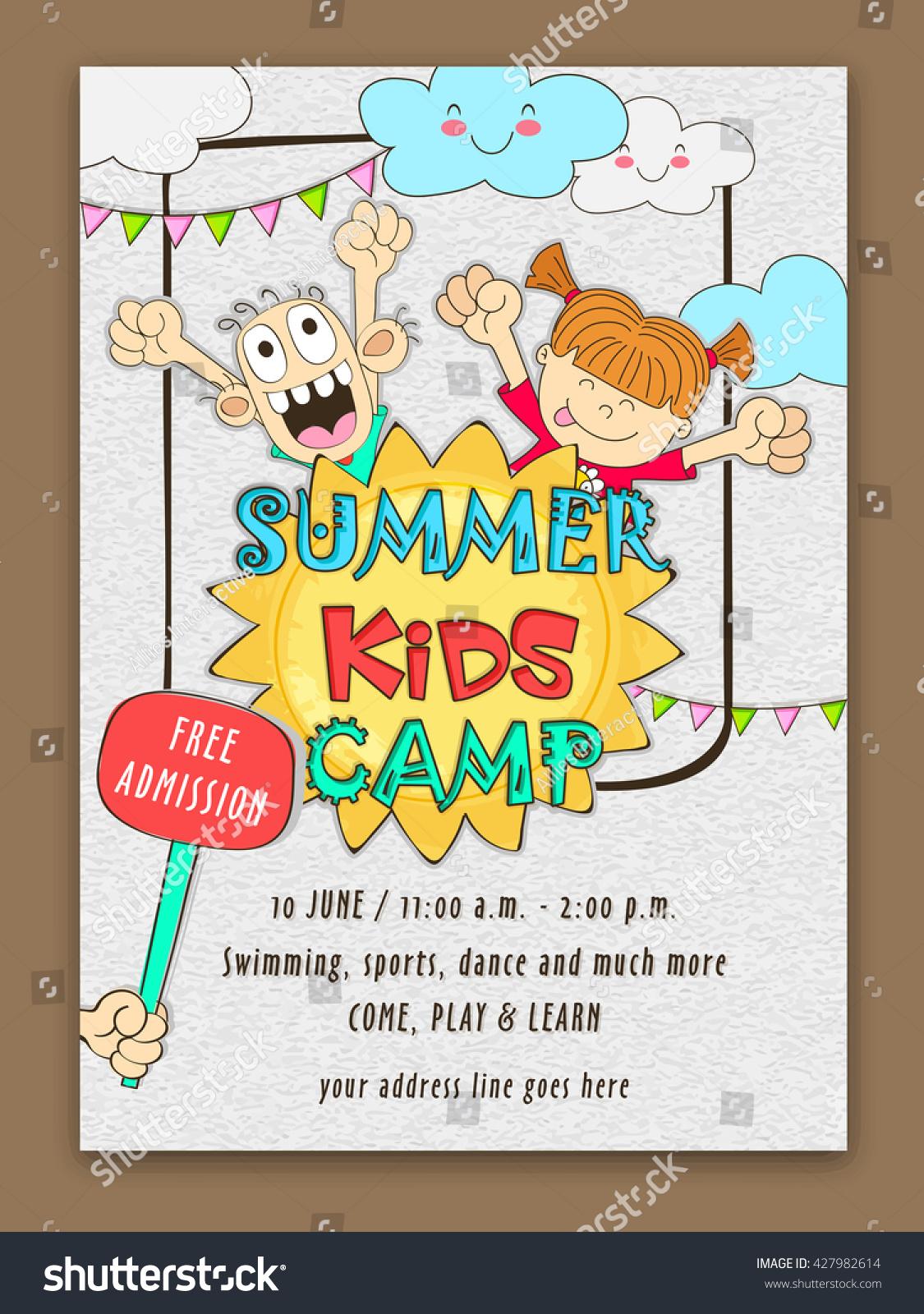 summer kids camp template banner flyer のベクター画像素材
