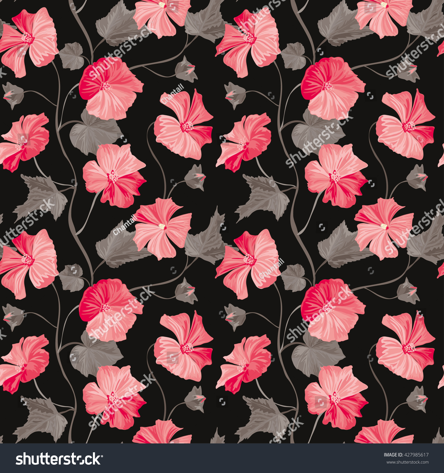 Elegant Seamless Pattern With Hand Drawn Decorative Hibiscus Flowers